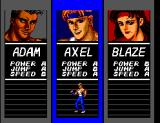 Streets of Rage SEGA Master System Select your character