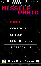 Missile Panic Android Main menu