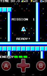 Missile Panic Android Beginning of the game. The A and B buttons are cosmetic, the only ones that matter are the D-pad buttons.