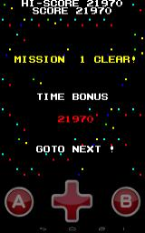 Missile Panic Android End of level 1. We get a score bonus for getting a good time.