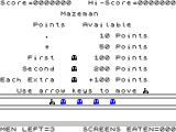 Mazeman ZX Spectrum Points table