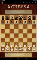 Chess Android Beginning of the game, with the default board and piece skin