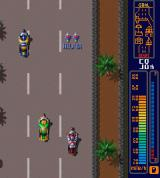 Rally Bike Sharp X68000 Stage 2 in Los Angeles, picking up the Helper gives you one bike on each side allowing you to run into other bikes without getting damaged