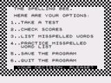 Spelling Bee ZX81 Main menu