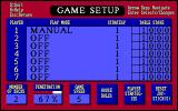 Blackjack Plus DOS The game configuration screen allows the player to configure the gameplay of each player at the table