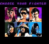 Mortal Kombat Game Gear choose your fighter