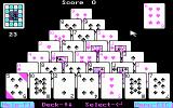 Pyramid Solitaire DOS Start of a Level 1 game (CGA)