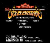 The Magic of Scheherazade NES Title screen