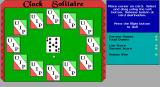 Clock Solitaire DOS After an animated deal with sound effects the cards are ready for the start of a game.The nine in the centre needs to be dragged to the corresponding position on the clock face