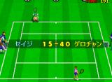 Super World Court Arcade The Frog blending in on the Wimbledon court (Japanese version)