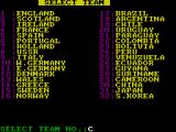 International Football ZX Spectrum Choose your team