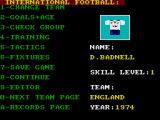 International Football ZX Spectrum Main Menu