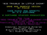 Big Trouble in Little China ZX Spectrum Intro screen with credits