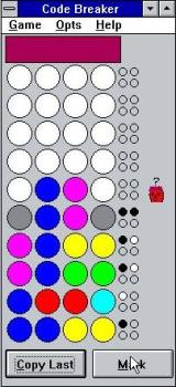 Code Breaker Windows 3.x By clicking on a cell repeatedly the player can cycle through the colours. 