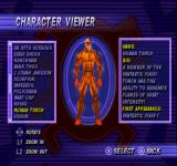 Spider-Man PlayStation Character wiewer mode: You can view the entire cast for example, here is the Human Torch, a member of the Fantastic Four.