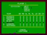 GFL Championship Football ZX Spectrum Choose your team