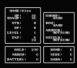 Faria: A World of Mystery & Danger! NES Character screen