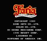 Faria: A World of Mystery & Danger! NES Title Screen