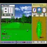 Harukanaru Augusta Sharp X68000 First hole, stance position shown in the upper left.