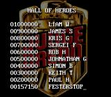 Judge Dredd SNES The high score table