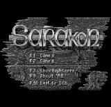 Sarakon DOS Title screen (Hercules Monochrome)