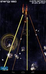 Project Trinity Android An Antaran Cruiser vaporizes incoming asteroids before the player can hurl them at its hull.