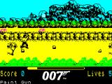 James Bond 007 in The Living Daylights: The Computer Game ZX Spectrum Firing at the other agents