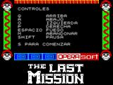 The Last Mission ZX Spectrum Title Screen