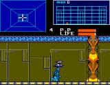 Cyborg Hunter SEGA Master System Paladin ducks under a flying cyborg in Area D