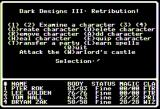 Dark Designs III: Retribution! Apple II Main Menu