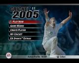 Cricket 2005 PlayStation 2 The game's main menu.