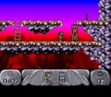The Humans SNES Climb up to get the spear