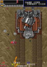 Gun Frontier Arcade Battling the first stage boss, a large tank