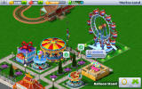 Rollercoaster Tycoon 4 Mobile Android Emoticons show visitor satisfaction. On the right there are 15 seconds left until the balloon stand is completed.