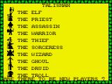 Talisman ZX Spectrum Select character