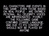 South Park PlayStation Game disclaimer.