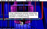 Space Quest III: The Pirates of Pestulon DOS Roger is driving a cool pod. He shouts... and that's what the game says to that