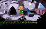 Maniac Mansion: Day of the Tentacle DOS Dialogue options with a blue tentacle in the future controlled by tentacles