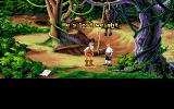 The Secret of Monkey Island DOS One of the game's numerous cutscenes. Herman Toothrot explains to Guybrush what happened to his mate. Pretty dark humor here...