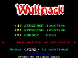 Wulfpack ZX Spectrum Main menu