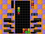 Columns FM Towns Doubles mode allows two players to work together as Player 1 and Player 2 take turns placing blocks