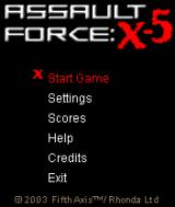 Assault Force: X-5 J2ME Main menu
