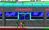 Leisure Suit Larry Goes Looking for Love (In Several Wrong Places) DOS Wearing a bikini, with long blond hair and waxed legs, Larry is being arrested by two suspiciously-looking soldiers in front of an airport