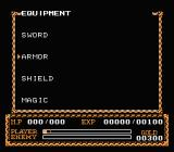 Ys II: Ancient Ys Vanished - The Final Chapter NES Equipment screen
