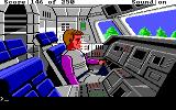 Space Quest II: Chapter II - Vohaul's Revenge DOS A full-screen scene with Roger in a space shuttle. It's interactive, too