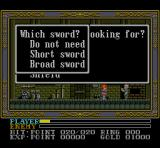 Ys III: Wanderers from Ys SNES Buying a sword. Very important