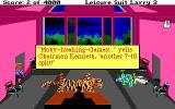 "Leisure Suit Larry III: Passionate Patti in Pursuit of the Pulsating Pectorals DOS Larry is cruelly handled by his ex-father-in-law (visually resembling a certain <moby developer=""ken williams"">somebody</moby>). Note the different colors for messages"