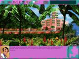 Leisure Suit Larry 6: Shape Up or Slip Out! DOS Exploring the area just outside the hotel. Beautiful animations - note the flying bird (high-resolution CD version)
