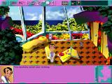 Leisure Suit Larry 6: Shape Up or Slip Out! DOS Larry's room. Pretty fancy, eh? Larry adjusts his zipper if you click the corresponding icon on him (high-resolution CD version)