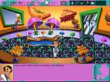 Leisure Suit Larry 6: Shape Up or Slip Out! DOS Dining room. Larry performs one of his random animations. Chefs are running back and forth behind the glass (high-resolution CD version)